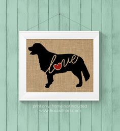 Golden Retriever Love  Burlap or Canvas / by TraciWithaniDesigns