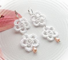 Crochet Earrings - White Flowers Earrings - Crochet Jewellery via Etsy