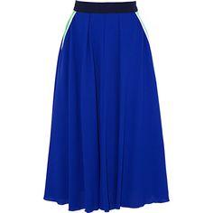 Roksanda Tilton silk-trimmed wool-crepe midi skirt ($556) ❤ liked on Polyvore featuring skirts, bright blue, blue midi skirt, blue skirt, calf length skirts, zipper skirt and midi skirt