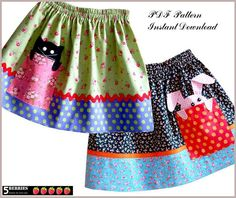 Pik-a-boo Girls SKIRT PATTERN + Free Mother-Daughter Apron Pattern, Sewing pattern for Children, PDF, clothing patterns, craft supplies Girls Skirt Patterns, Skirt Patterns Sewing, Clothing Patterns, Skirt Sewing, Pattern Sewing, Apron Patterns, Sewing Aprons, Coat Patterns, Blouse Patterns