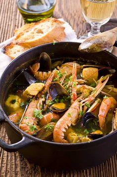 Authentic Bouillabaisse - The French Fisherman s Stew Seafood Stew fish shrimp clam mussel lobster potato saffron parsley tomato paste fennel Shrimp Recipes, Fish Recipes, Soup Recipes, Cooking Recipes, Seafood Stew, Seafood Dishes, La Bouillabaisse, French Dishes, French Food