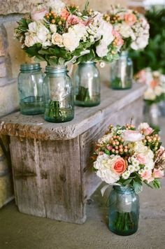 Rustic Wedding Bouquets using vintage blue Ball mason jars for flower vases, vintage wedding decor Wedding Centerpieces, Wedding Bouquets, Wedding Decorations, Bridesmaid Bouquets, Jar Centerpieces, Bridesmaids, Flower Bouquets, Table Decorations, Centerpiece Ideas