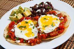Huevos Rancheros <3 eggs, tortilla, salsa, avocado, beans