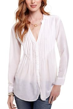 Pleated Button Down