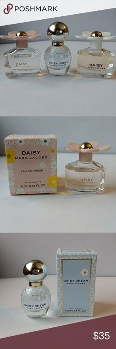 Marc Jacobs Daisy Trio Marc Jacobs Daisy Eau De Toilette, Marc Jacobs Daisy Eau So Fresh and Marc Jacobs Daisy Dream. These are 3 small bottles. 4th pictured with a quarter. Marc Jacobs Makeup Brushes & Tools
