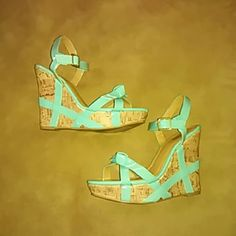 💕Teal Charlotte Russe Wedge👠 Teal cork wedge. Worn a couple of times. An unnoticeable mark on front right toe on the cork part. Still very good condition overall besides the treads. Charlotte Russe Shoes Wedges