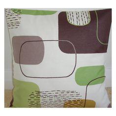 "20x20 Pillow Cover 20"" Decorative Retro Mid-Century 1950's Green Brown Beige Cream Geometric Shapes Cushion Case Sham Slip Pillowcase"