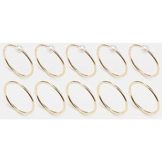 ASOS Pack of 10 Pretty Pearl Rings ($14) ❤ liked on Polyvore featuring jewelry, rings, gold, pearl jewellery, asos, asos jewelry, white pearl ring and pearl rings