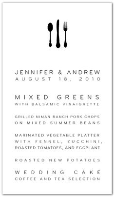 like the clean layout here - what if instead of flatware up top, we had a black silhouette of a bernese mtn/large dog leaning over bowl - too much/crazy dog lady? Simple Wedding Menu, Wedding Menu Cards, Wedding Stationary, Wedding Programs, Black Fr, One Sweet Day, Menu Design, Print Design, Menu Template