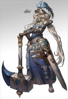 Hammer Girl by – Kallisto Female Character Design, Character Design Inspiration, Character Concept, Character Art, Fantasy Armor, Medieval Fantasy, Fantasy Characters, Female Characters, Knight Art