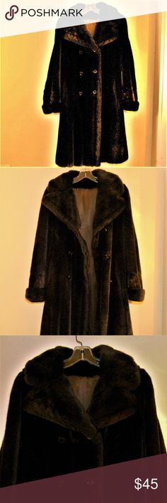 """Vintage Benmor of New York Faux Fur Coat Small For your consideration, Gorgeous Vintage Benmor of New York Faux Mink Coat (Deep Brown/ Black) Size Small Luxurious Hollywood Style Double Breasted Coat with 3 Rows of Buttons (6 Overall) in Front Fully Lined 41"""" Overall Length Benmor of New York Jackets & Coats"""