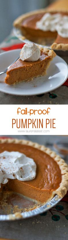 Fail-Proof Pumpkin Pie only needs 5 easy ingredients!! It will turn out perfectly every time and it's a good solid fall-back recipe that everyone will be impressed by!