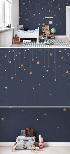 This star wallpaper would be lovely for a kids' room or nursery. How can you go wrong with interior design that inspires stargazing, space adventures and imaginative play? Lovely inspiration for a children's room. Baby Bedroom, Girls Bedroom, Bedroom Decor, Bedroom Modern, Bedroom Ideas, Nursery Ideas, Bedroom Fun, Blue Bedrooms, Room Girls