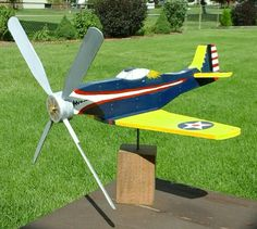 19 W2967 Airplane Whirligig Mustang P 51 Woodworking