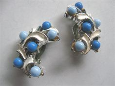 Vintage 50s 60s Clip On Earrings Chambray by ErmaJewelsVintage, $8.00