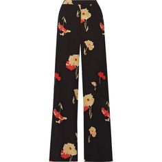 Etro Printed silk-crepe wide-leg pants ($1,060) ❤ liked on Polyvore featuring pants, black, floral pants, flower print pants, etro pants, floral print trousers and multi colored pants