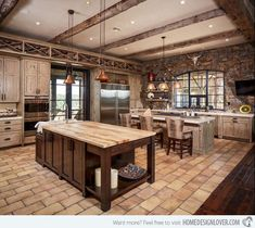 Wood rustic kitchen design bold kitchen with rustic wood beams rustic wood kitchen designs Western Kitchen Decor, Rustic Kitchen Design, Western Decor, Rustic Design, Western Style, Rustic Kitchens, Kitchen Designs, Country Kitchen, Traditional Style Homes