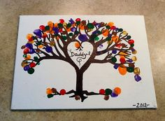 Drew a tree on canvas w/a sharpie & let little fingers create a colorful masterpiece for Daddy's birthday!