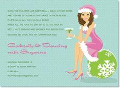 Santa Girl Tropical - Brunette Invitation #secretsanta #holiday #christmas #party