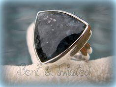 Trillian Cut Norwegian Moonstone in Fine & Sterling Silver setting- Cocktail Ring - One of a Kind. $95.00, via Etsy.