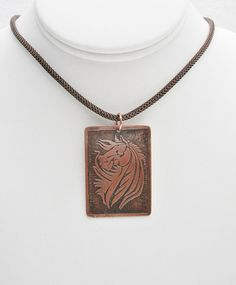 Horse Pendant Necklace Horse Jewelry Handmade Etched Copper Jewelry Equestrian Jewelry by FireHorseArtJewelry on Etsy