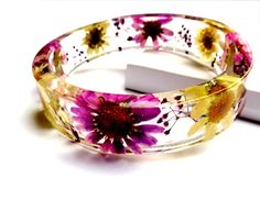 Purple Resin Bangle Bracelet. Real Flower by caughtREDhandedTOO, $38.00