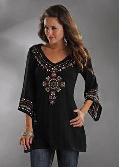 Panhandle Slim Ladies Black 3/4 Sleeve Gypsy Tunic w Folk Art Embroidery: Sierra Western Wear