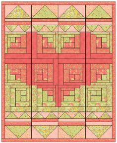Use a lovey dovey log cabin quilt pattern to make your next baby quilt. If you love the log cabin quilt variations, this approach challenges you to make a design within a design. If you have a new bundle of joy coming around Valentine's Day, there's no better baby quilt pattern to give.