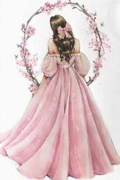 Girly Drawings, Cool Art Drawings, Cute Animal Drawings, Flower Background Wallpaper, Cute Girl Wallpaper, Girl Cartoon, Cartoon Art, Birthday Girl Pictures, Cute Girl Drawing