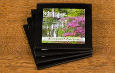 Accentuate your mugs and glasses with our beautiful coaster set featuring a scenic garden view plus your choice of Name printed on the bridge  What better accessory to rest beverages on than our pretty glass coasters? Our personalised glass coasters, featuring a scenic photograph of a garden, make a wonderful addition to any table.  And why not complete your set with matching placemats?
