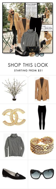 """Camel Blazer & Striped Turtleneck"" by brendariley-1 ❤ liked on Polyvore featuring Lux-Art Silks, rag & bone, Chanel, Warehouse, J.Crew and Vis-à-Vis"