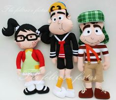 Felt La Chilindrina, Quico y El Chavo del 8 * No instructions available. Twin Birthday, Birthday Ideas, Felt Dolls, Ideas Para, Mickey Mouse, Disney Characters, Fictional Characters, Twins, Canvas