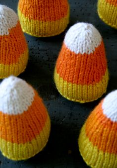 Whit's Knits: Candy Corns! - Knitting Crochet Sewing Crafts Patterns and Ideas! - the purl bee. Love the look, but maybe I would do in felt?
