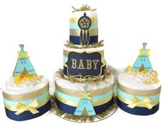 Tribal Baby Shower Diaper Cakes, Set of 3 Baby Shower Centerpieces in Navy Blue, Gold and Mint, Teepee Baby Shower Decorations Baby Shower Diapers, Baby Shower Cakes, Baby Boy Shower, Baby Shower Gifts, Baby Party, Baby Shower Parties, Baby Shower Themes, Shower Ideas, Baby Showers