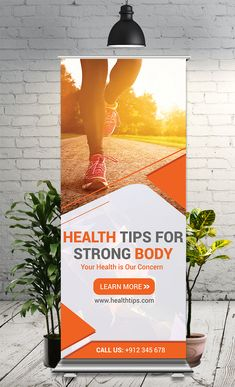 Health Roll Up Banner - This Roll-Up Banner Template is perfectly suitable for promoting your Business. You can also use th - : Health Roll Up Banner - This Roll-Up Banner Template is perfectly suitable for promoting your Business. Pull Up Banner Design, Standing Banner Design, Bunting Design, Rollup Banner, Tradeshow Banner Design, Rollup Design, Standee Design, What Is Fashion Designing, Banner Design Inspiration