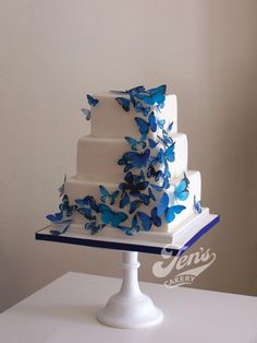 Paper Rice Royal Blue Butterflies ~  wedding Cake ~ all edible