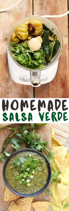 This homemade salsa verde is perfectly flavored with fresh herbs and spicy peppers for an easy and delicious appetizer.