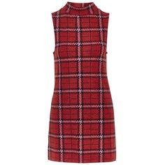 Topshop Plaid Funnel Neck Tunic Dress found on Polyvore featuring dresses, tartan plaid dress, red dress, checkered dress, red plaid dress and retro style dresses