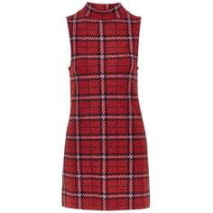 Topshop Plaid Funnel Neck Tunic Dress (445.455 VND) ❤ liked on Polyvore featuring dresses, vestidos, short dresses, topshop dresses, short red dress, retro dresses and red dress