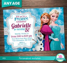 FROZEN INVITATION Frozen Party Invitation por berryniceprintables