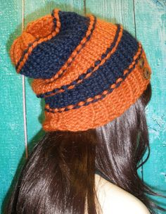 Slouchy Beanie Hat Winter Hand Knit Chicago Bears Football by CoconutChic, $24.00