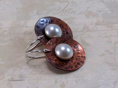 Copper Disc Earrings, Swarovski Pearls, Sterling Silver Earwires, Copper Jewelry | RiverGum Jewellery | madeit.com.au