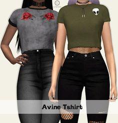 The Sims 4 Mody: Koszulki Avine od Lumy Sims