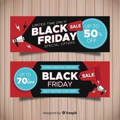 Modern black friday banners with flat design - Email Marketing - Flat Design, Web Design, Black Friday, Banner Design Inspiration, Ticket Design, How To Make Banners, Free Banner, Social Media Design, Business Card Design