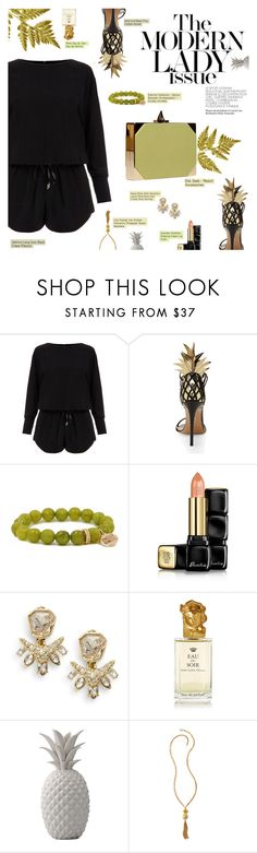 """Pineapple Resort Party"" by r-maggie ❤ liked on Polyvore featuring Helmut Lang, Aquazzura, Elie Saab, Guerlain, Alexis Bittar, Sisley, Bloomingville and Lilly Pulitzer"