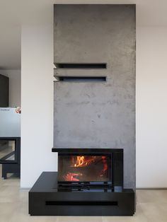 pl MBO L/BS Gilotyna granit absolut black Home Fireplace, Modern Fireplace, Living Room With Fireplace, Fireplace Design, Modern Wood Burning Stoves, Modern Stoves, Decor Interior Design, Interior Design Living Room, Living Room Designs