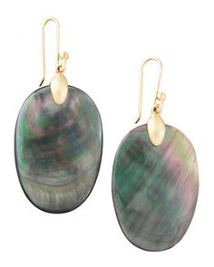 Large Black Mother-of-Pearl Chip Earrings by Ted Muehling