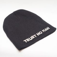 """Trust No Man"" Beanie Silver Accents"