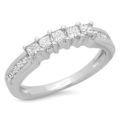 0.55 Carat (ctw) 14K White Gold Princess Diamond Ladies Wedding Band Stackable Ring 1/2 CT (Size 7) DazzlingRock Collection http://www.amazon.com/dp/B00MND7D70/ref=cm_sw_r_pi_dp_gPXVub0GC83FW