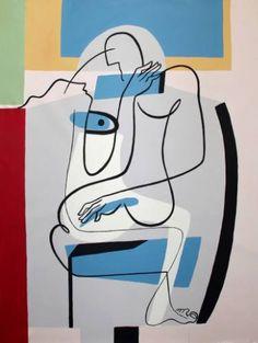 "Saatchi Art Artist Bernard Simunovic; Abstract Portrait Painting, ""Blue eyed"" #art"